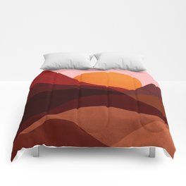 Abstraction_Mountains_SUNSET_Minimalism Comforters