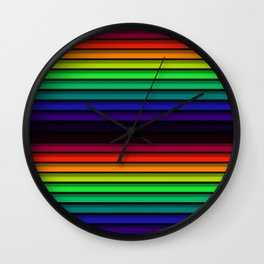 Spectrum - Rainbow Stripes - Colorful - Manafold Art Wall Clock