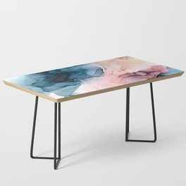 Pastel Plum, Deep Blue, Blush and Gold Abstract Painting Coffee Table
