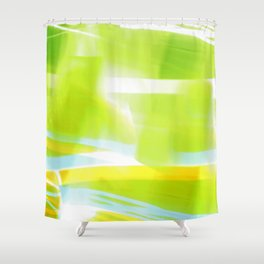 In Between Yellow, Green and Blue - JUSTART © Shower Curtain