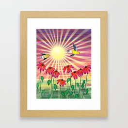 goldfinches sunshine flight Framed Art Print