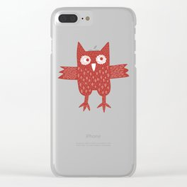 Red Owl Illustration Clear iPhone Case
