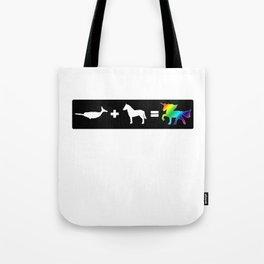 Narwhal + Horse = Unicorn (rainbow) Tote Bag