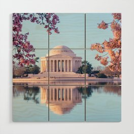 Cherry Blossoms at Jefferson Memorial in Washington DC Wood Wall Art