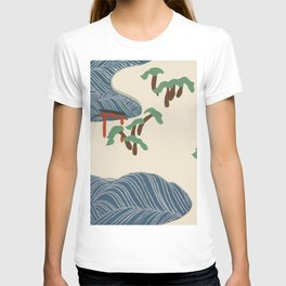 Kamisaka Sekka - Ocean waves from Momoyogusa T-shirt