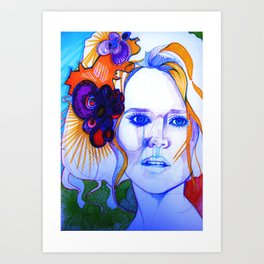 Blonde Girl With Flowers in her hair Art Print