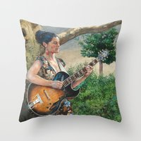 concert Throw Pillows featuring Summer Concert by Robles Art