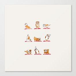 English Bulldog Yoga Watercolor Canvas Print