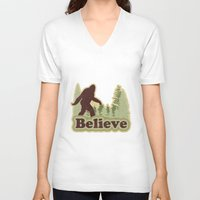 bigfoot V-neck T-shirts featuring Bigfoot Believe by Heather Green