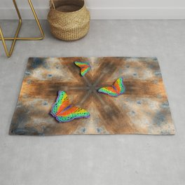 Surreal butterflies on corrugated iron mandala Rug