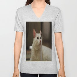 white cat Unisex V-Neck