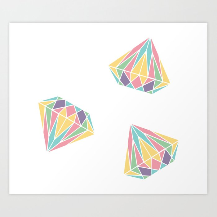 Colorful Diamonds Pattern - gemstones pattern Art Print