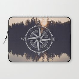 Wooded Lake Reflection Compass Laptop Sleeve