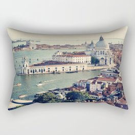 Aerial View of the Grand Canal and Basilica Santa Maria della Salute, Venice, Italy. European summer vacation concept. Vintage color filtered. Rectangular Pillow