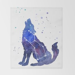 Galaxy Wolf Lupus Constellation Throw Blanket