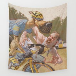 Man Chases Dog, Dog Pedals Harder Wall Tapestry