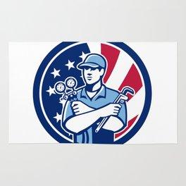 American Air-Con Serviceman USA Flag Icon Rug
