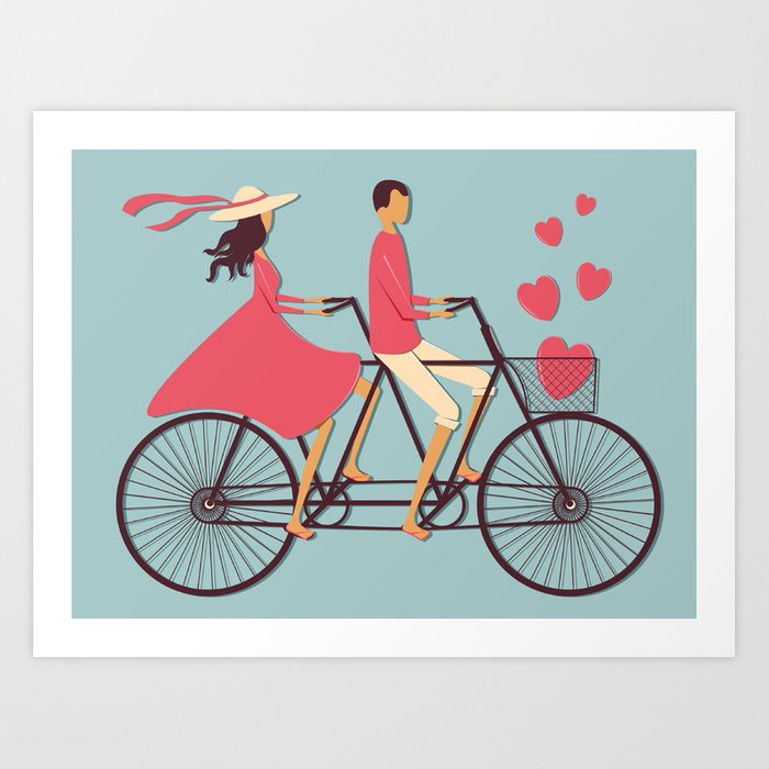 Love Couple Riding On The Bike Art Print By Juliatush Society6