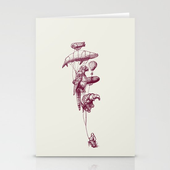The Helium Menagerie (merlot)  Stationery Cards