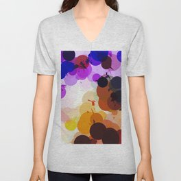 geometric circle and triangle pattern abstract in purple brown blue Unisex V-Neck