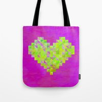 valentines Tote Bags featuring Neon Valentines by Fimbis
