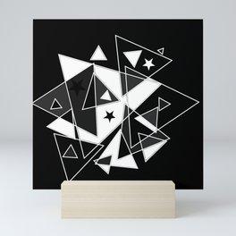 Triangles in black and white Mini Art Print