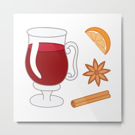 Mulled wine, spiced wine pattern. Metal Print
