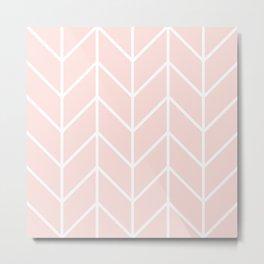 Herringbone Chevron (Rose Quartz) Metal Print