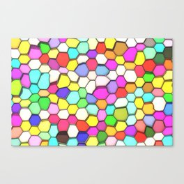 Distorted Colored Hexa Pattern Canvas Print