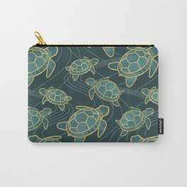 Japanese Pond Turtle / Teal Carry-All Pouch