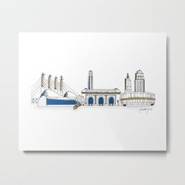 Kansas City Skyline Illustration in KC Royals Colors Metal Print