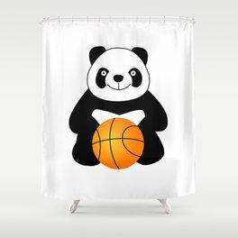 Panda with a basketball ball Shower Curtain