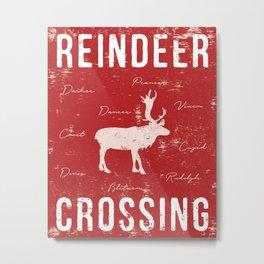 Reindeer Crossing - Red Metal Print