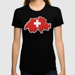 Switzerland Map with Swiss Flag T-shirt