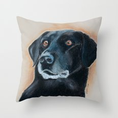 Nutter. A black lab Throw Pillow