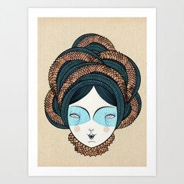 The long hair girl Art Print