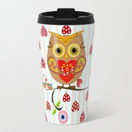 Valentine's day owl with hearts Travel Mug
