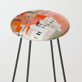 italy coast houses minimal abstract painting Counter Stool