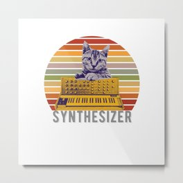 Vintage synthesizer for cat electronic and techno fans Metal Print