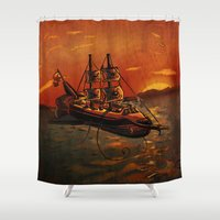 voyage Shower Curtains featuring Voyage by Craig Holland Illustration