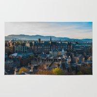 edinburgh Area & Throw Rugs featuring Edinburgh Sunrise by Adrienne Page