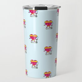 My heart goes faster for you pattern Travel Mug