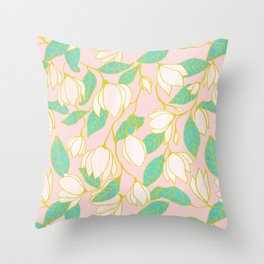 Sweet magnolia floral pattern Throw Pillow