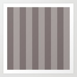 Warm Gray Thick Vertical Stripes Art Print