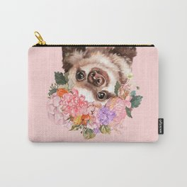 Baby Sloth with Flowers Crown in Pink Carry-All Pouch