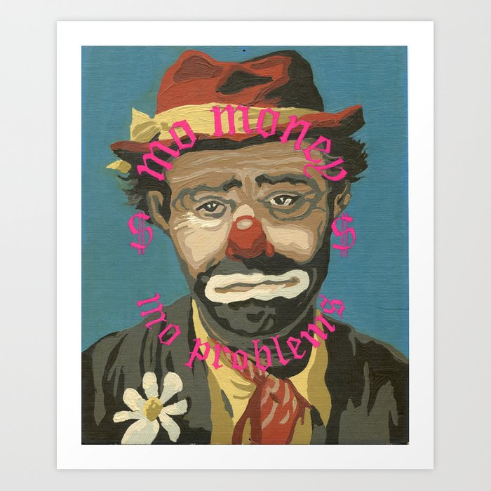 Vintage Paint By Number Pbn Mo Money Clown Art Print By Mamasaidstudio