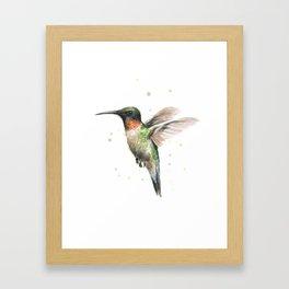 Hummingbird Watercolor Bird Animal Ruby Throated Framed Art Print