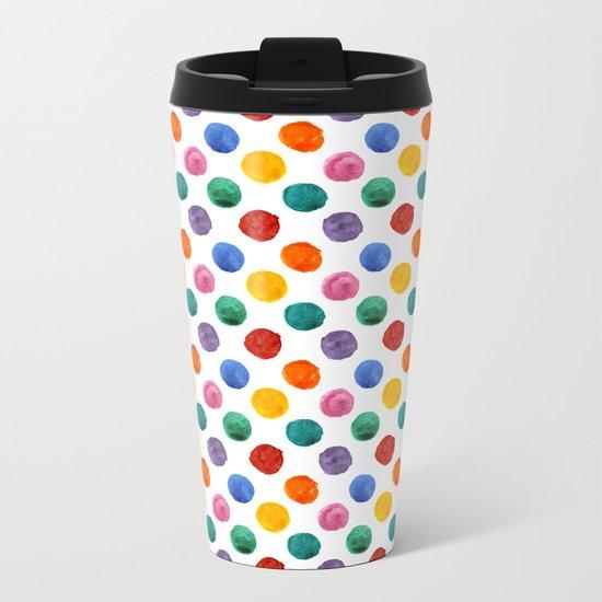 'Happiness and joy', colorful watercolor dots Metal Travel Mug