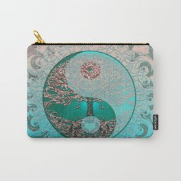 Pretty Chic Teal Tree of Life with Yin Yang and Heart Carry-All Pouch