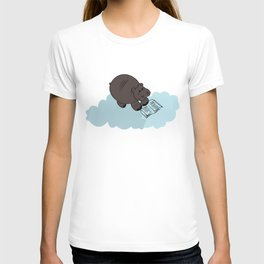Hippo cloud-reading. Joy in the clouds collection. T-shirt